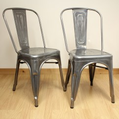 Retro Cafe Dining Chairs Huge Pillow Chair Set Of 2 Gunmetal Metal Industrial Kitchen