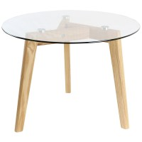 HARTLEYS SOLID OAK AND GLASS SMALL ROUND TOP CHIC SIDE/END ...