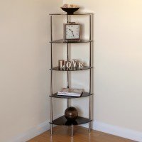 Hartleys 5 Tier Black Glass Side Corner Shelf/Display Unit