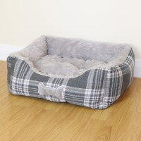 Small Grey Check Super Soft Luxury Dog/Puppy/Cat Pet Bed ...