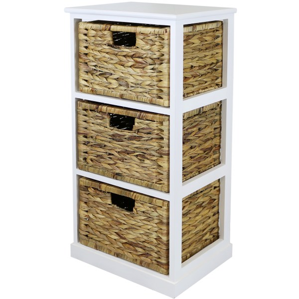 Wicker Basket Storage Cabinets with Drawers