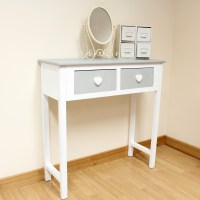 2 Drawer Dressing Table Grey & White/Heart Handles/Girls ...