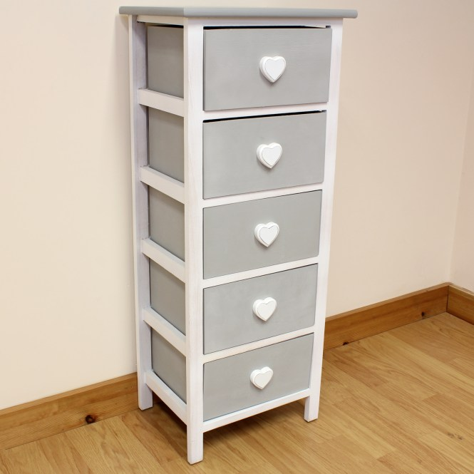 Sentinel White Grey Wooden Cabinet For S Bedroom Furniture Chest Of Drawers Tallboy