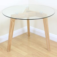 Solid Oak & Clear Glass Modern Round Side End Table Coffee ...
