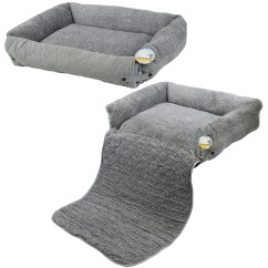 Sofa Protectors For Pets Catnapper Disassembly Me And My Pet Quilted Grey Fleece Fold Out Cat Dog Bed