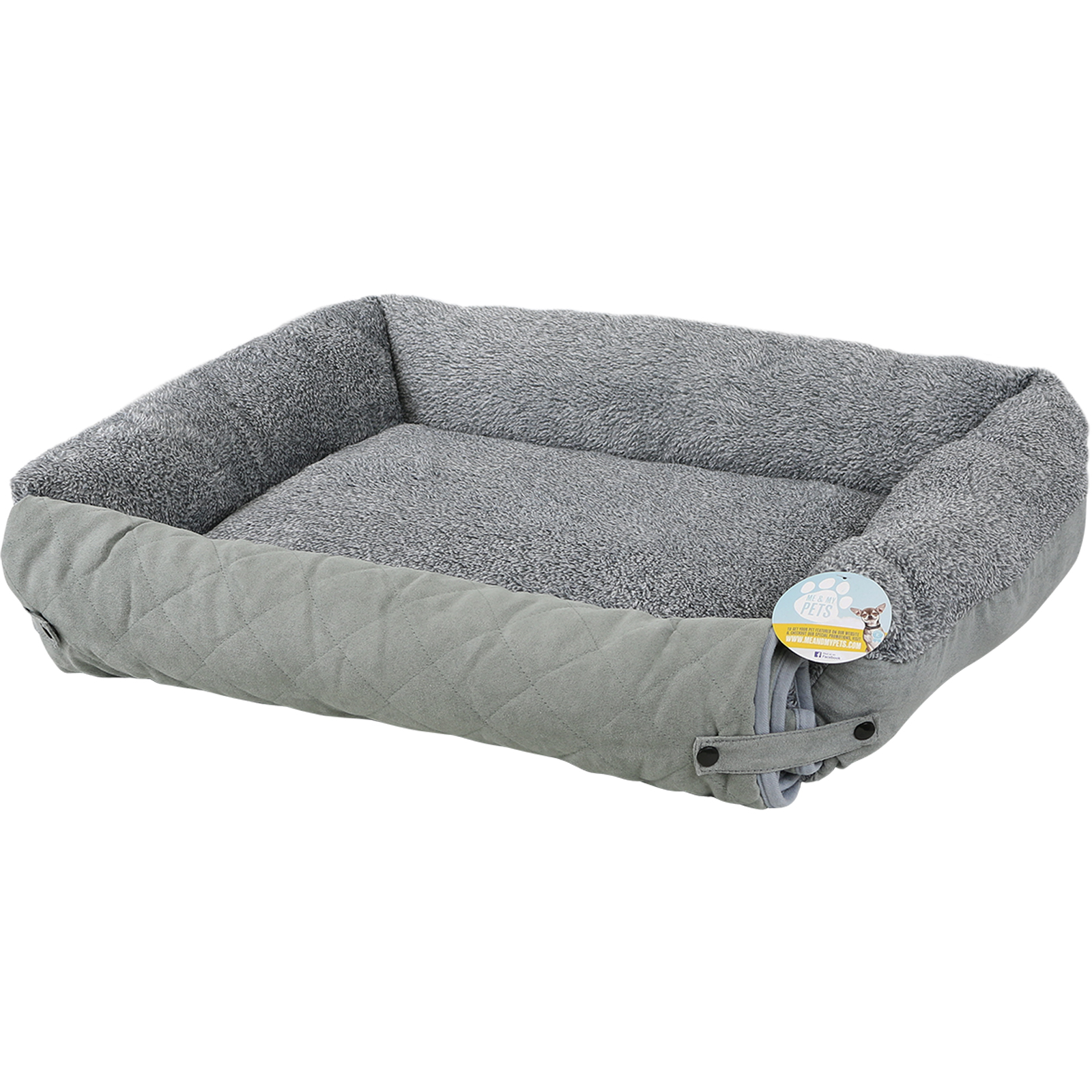 Me Amp My Pet Quilted Grey Fleece Fold Out Cat Dog Bed Sofa