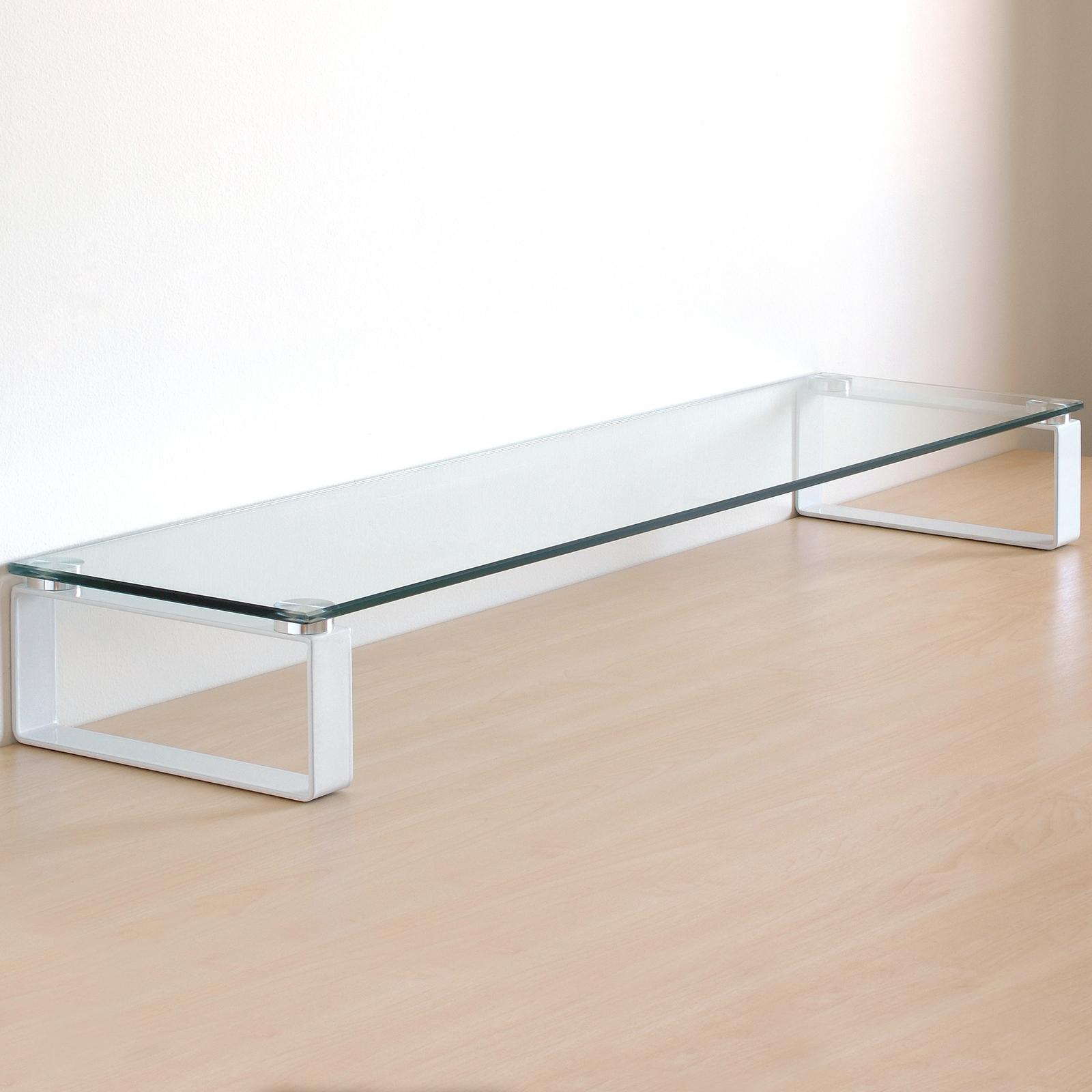X Large Double Monitor Riser Stand PCiMac Screen TV Display Shelf ClearWhite  eBay