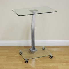 Sofa Portable Table Bed Set Up Clear Glass Laptop Notebook Stand