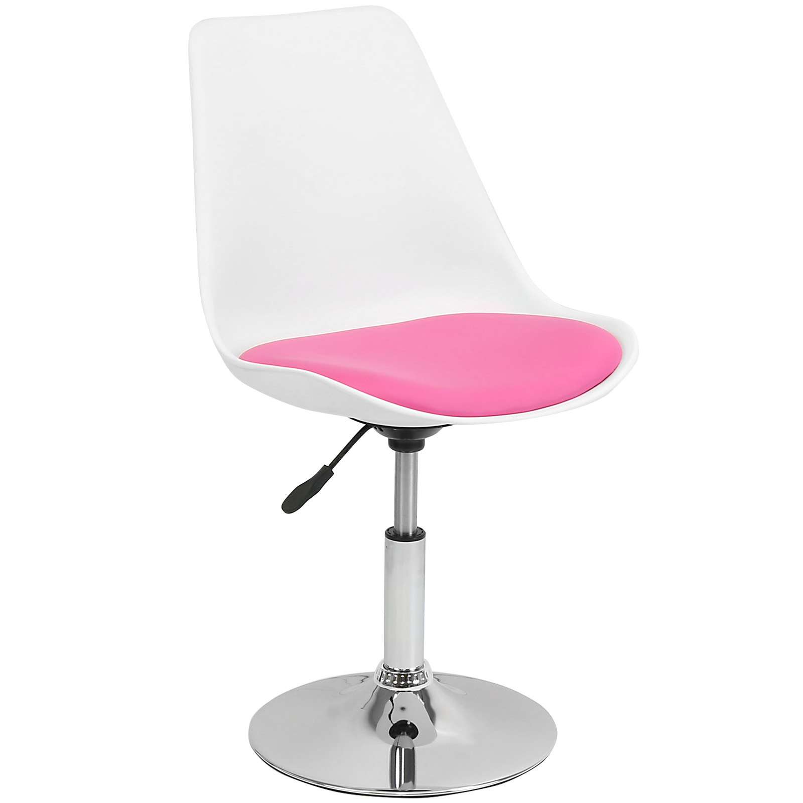 white swivel desk chair uk ergonomic for back pain hartleys pink and seat tulip reception