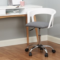 Grey Fabric Swivel Office Chair Cover Rental Agreement Hartleys White Adjustable Computer Pc