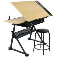 Drafting Table Chair Height Leather Scoop Back Dining Chairs Hartleys Drawing With 2 Drawers Bench