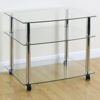 Mobile Chrome & Clear Glass 3 Shelf TV Stand/Trolley/Unit ...