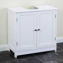 Under Kitchen Sink Storage Metal Stools Classic White Vanity Unit Bathroom