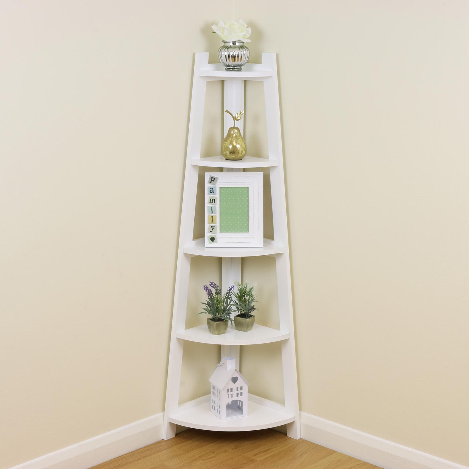 White 5 Tier Tall Corner ShelfShelving Unit Display Stand
