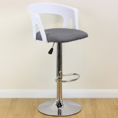 Tall Swivel Chair Uk Hanging Buy Adjustable Stool White Grey Chrome Breakfast