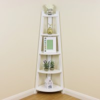 White 5 Tier Corner Shelf/Shelving Unit Stand Home ...