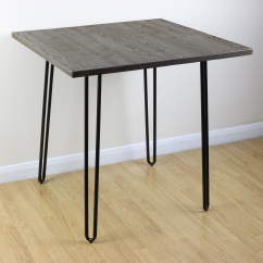 Industrial Kitchen Table Remodel Works Bath & Sale Hairpin Pin Leg Wood Top And Black Square