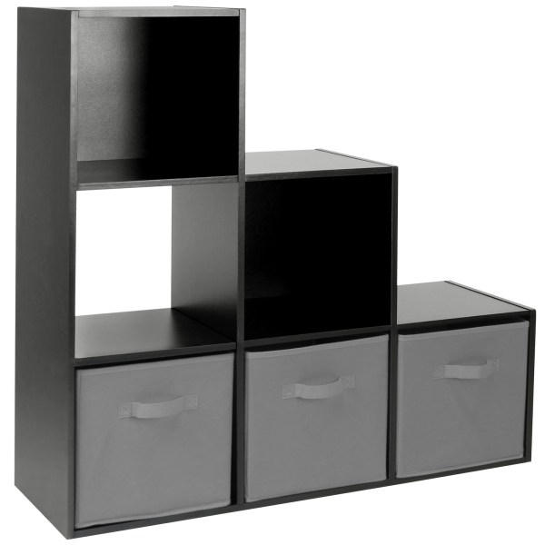 Hartleys Black 6 Cube Modular Shelving Display Unit 3 X Grey Fabric Storage Box