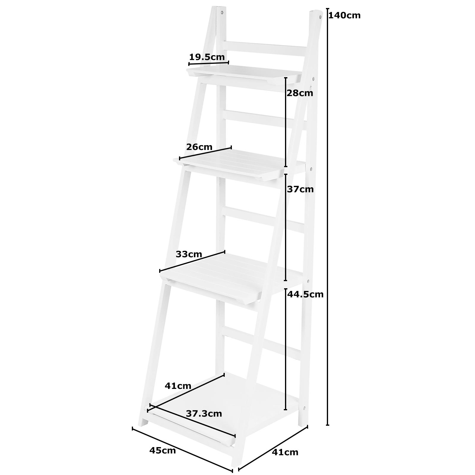 Hartleys Modern 4 Tier White Ladder Shelf Unit Rack