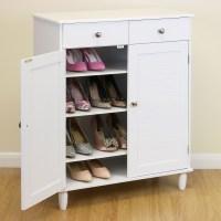 White Wooden 4 Tier Shoe Storage Cabinet Hallway/Bedroom ...