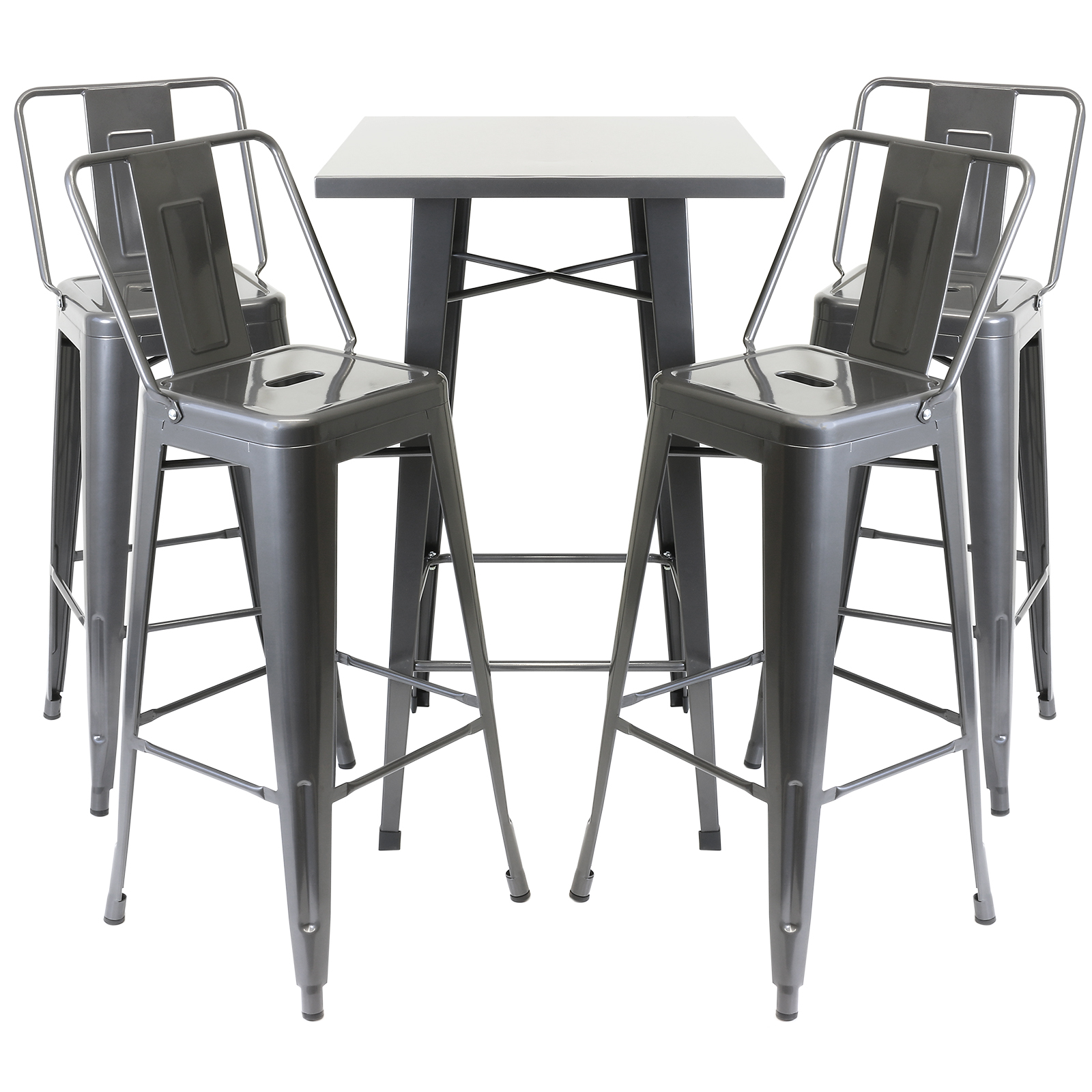 industrial bistro chairs breuer for sale hartleys gunmetal table and 4 bar stools