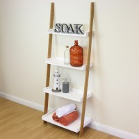 4 Tier White/Bamboo Ladder Wall Shelf Home Storage Display ...
