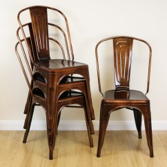 Retro Cafe Dining Chairs Chair And A Half With Sleeper Set Of 4 Copper Metal Industrial Kitchen
