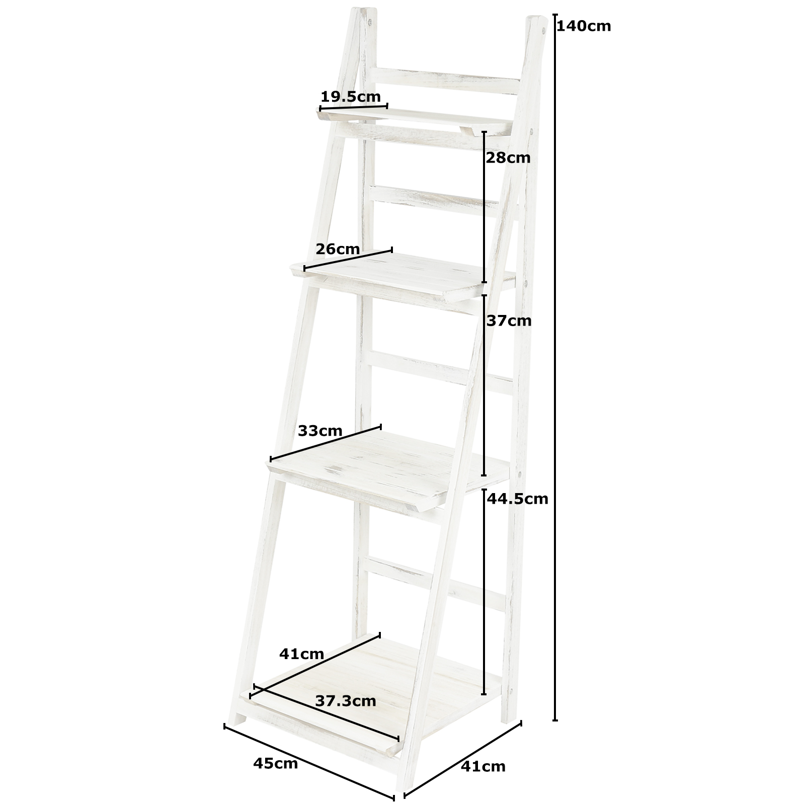HARTLEYS MODERN 4 TIER WHITE WASH LADDER SHELF UNIT