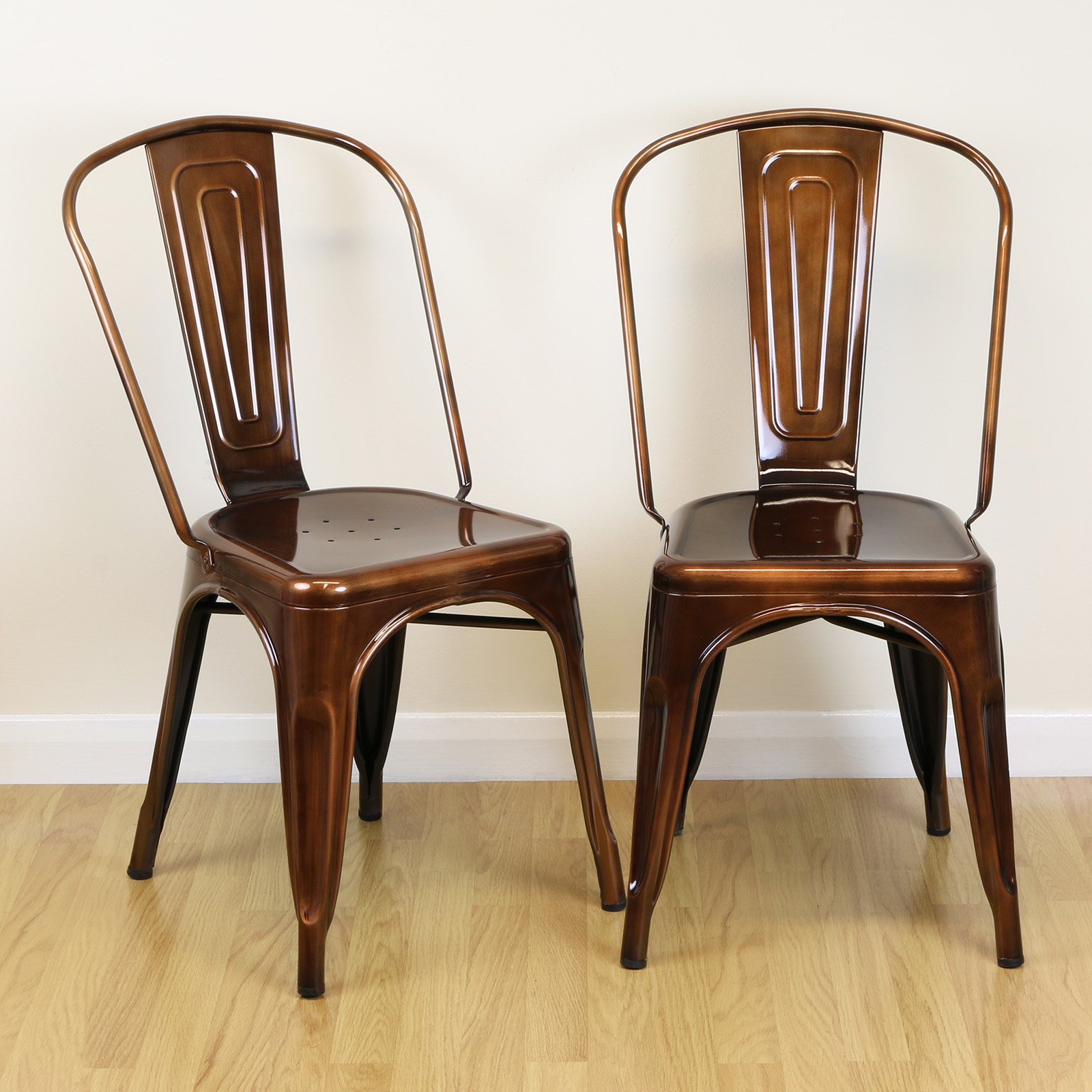 retro cafe dining chairs anthropologie hanging chair set of 2 copper metal industrial kitchen