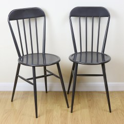 Bistro Style Dining Chairs Musical Music For Kids Set Of 2 Grey Metal Industrial Kitchen