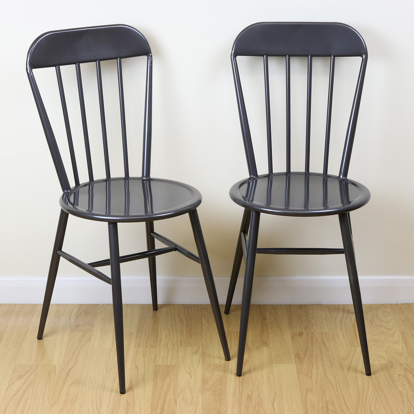 grey kitchen chairs throne for sale set of 2 metal industrial dining