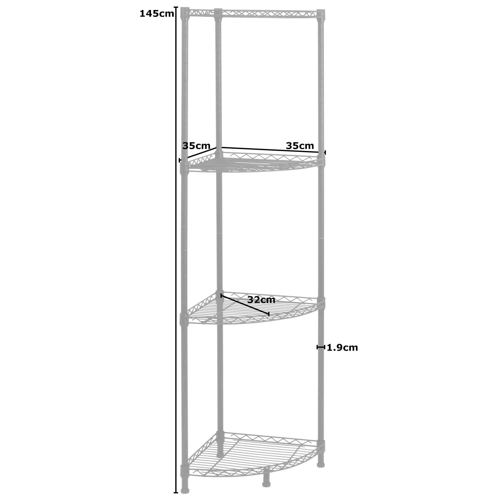 Hartleys Metal Wire Corner Shelving Unit Storage Kitchen