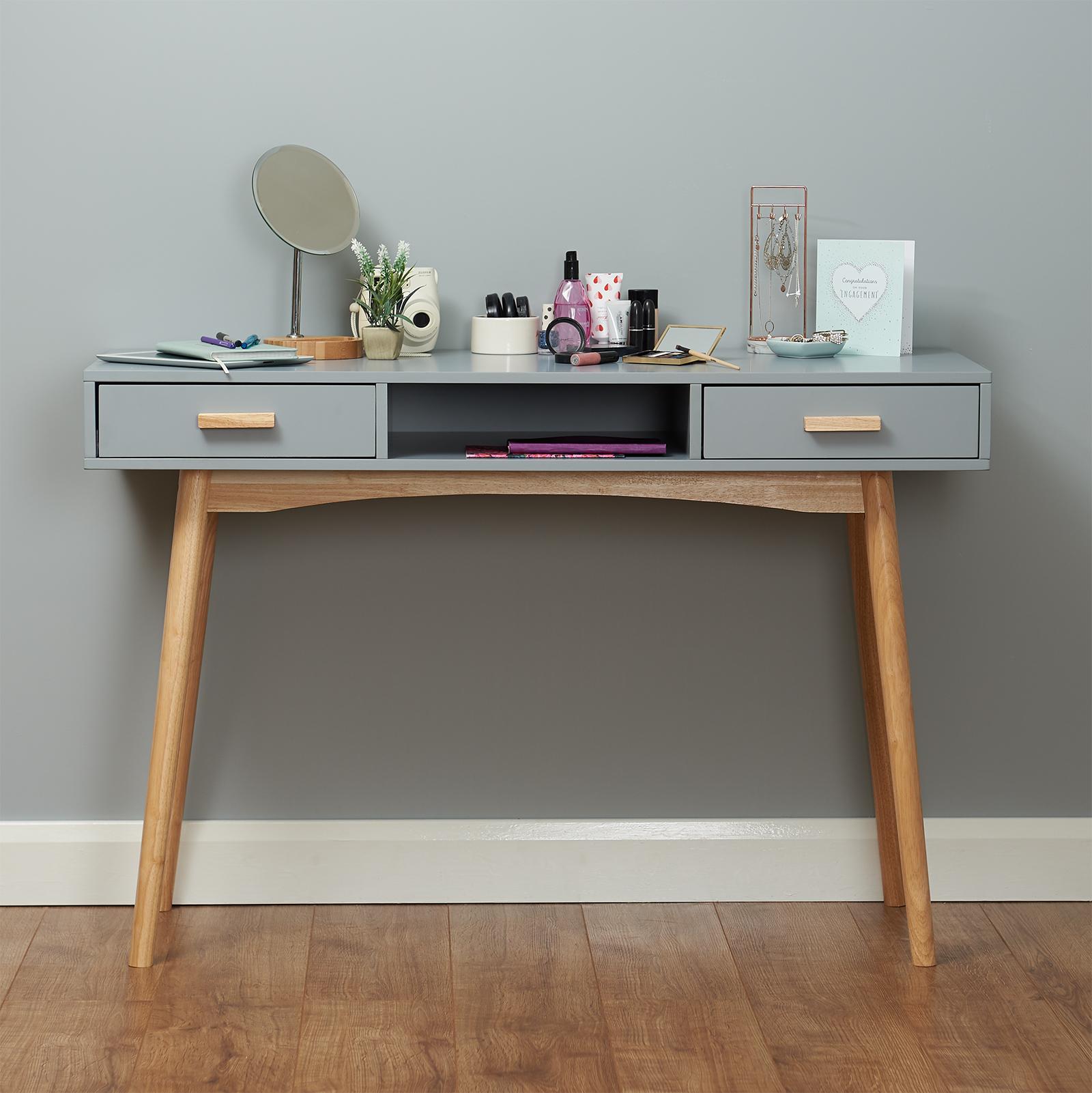 Grey Scandinavian Modern Bedroom Dressing Table Makeup