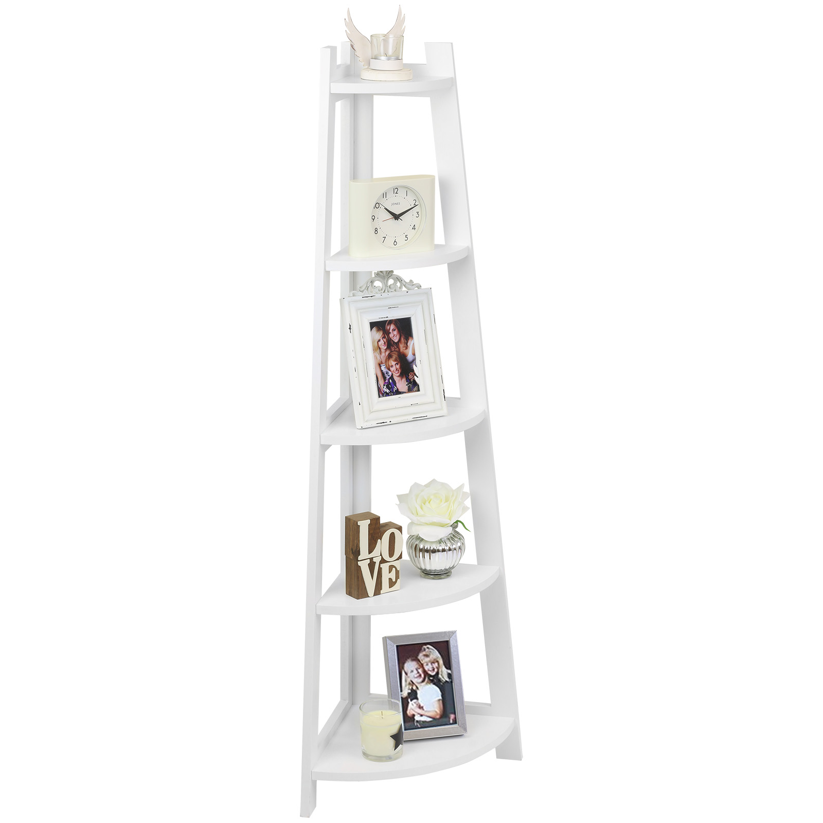 sentinel hartleys etagere bibliotheque echelle meuble rangement coin angle 5 etages blanc