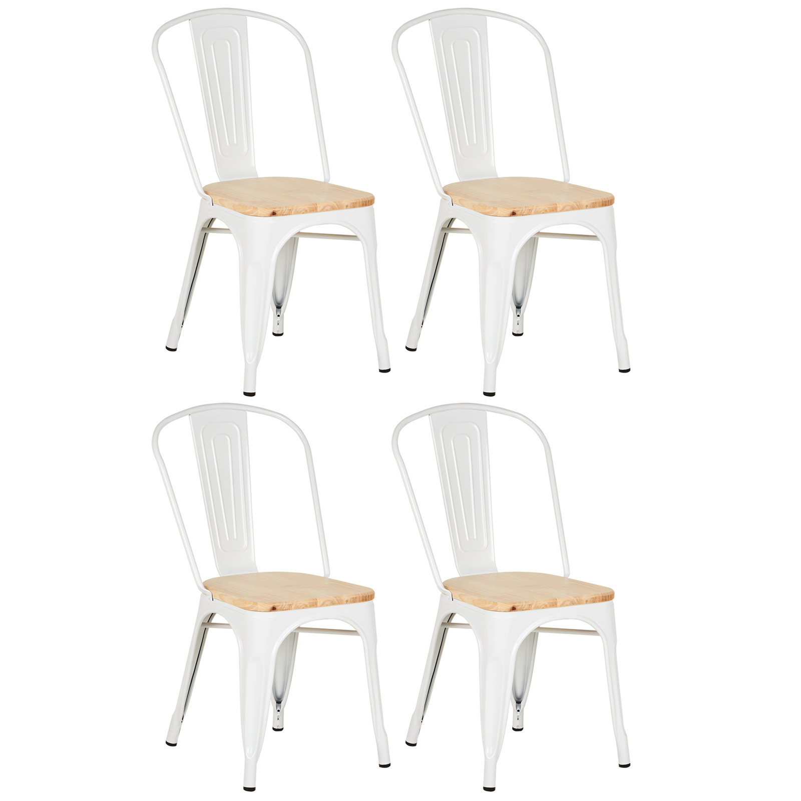 White Bistro Chairs Details About Hartleys White Industrial Metal Dining Chair Cafe Bistro Stacking Wood Top Seat