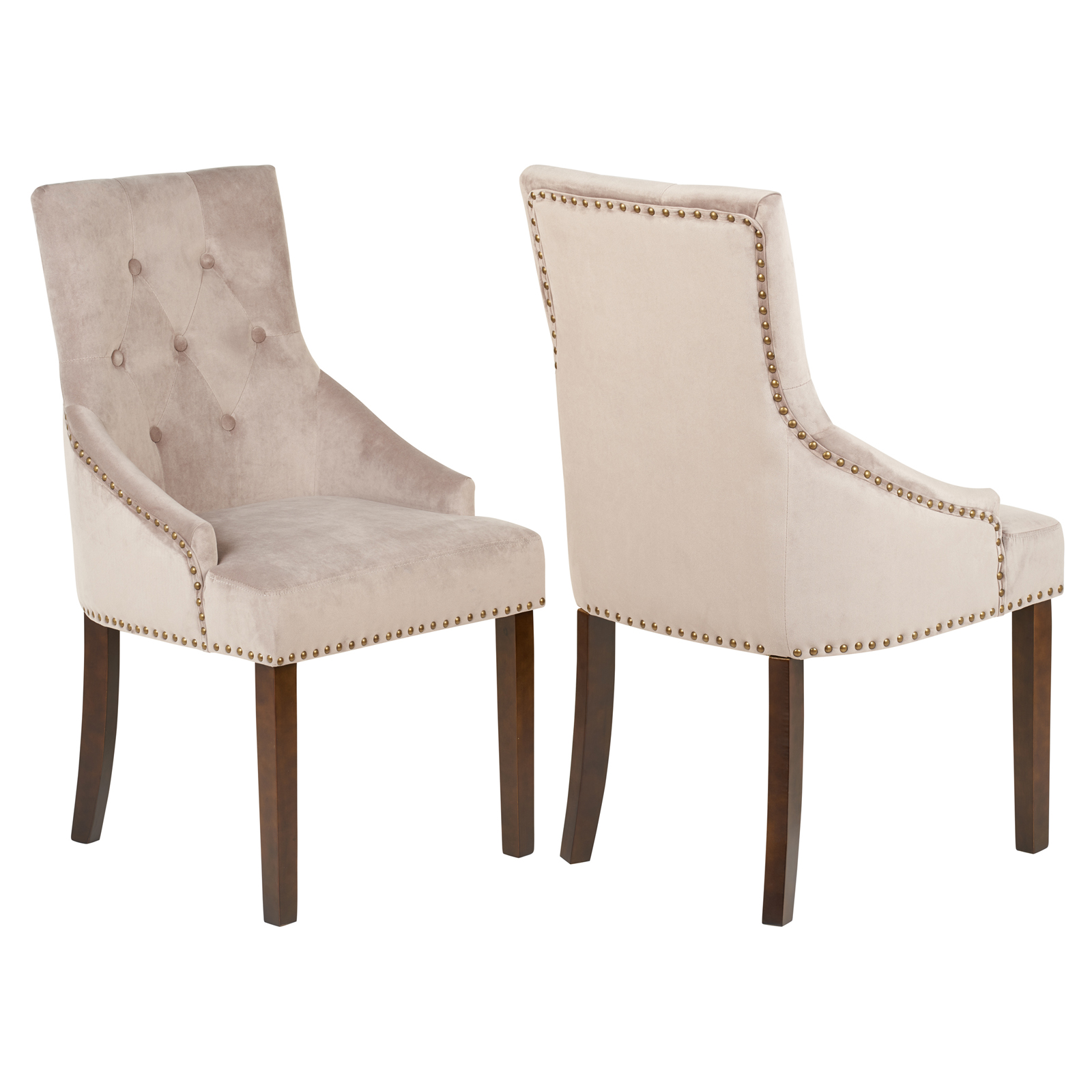 Studded Dining Chairs Details About Hartleys Pair Of Taupe Velvet Dining Chairs Studded Button Back Grey Brown Chair