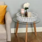 Hartleys Round Wicker Serving Tray Decorative Wooden Platter Coffee Table Decor Ebay