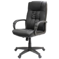 PADDED BLACK HIGH BACK OFFICE/COMPUTER CHAIR/SEAT PU ...