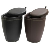FAUX LEATHER HIDDEN STORAGE OTTOMAN STOOL/BOX TUB/BARREL ...