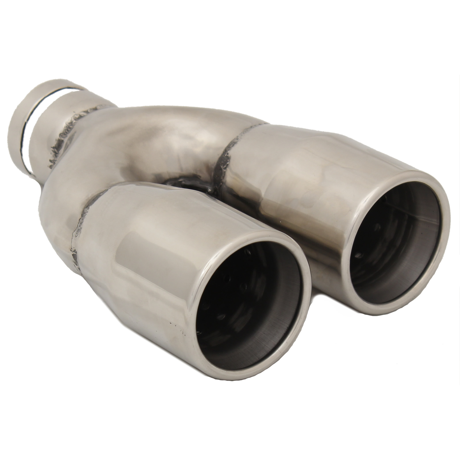 STAINLESS STEEL TWIN 3 INCH ROUND CHROME CAR EXHAUST TAIL