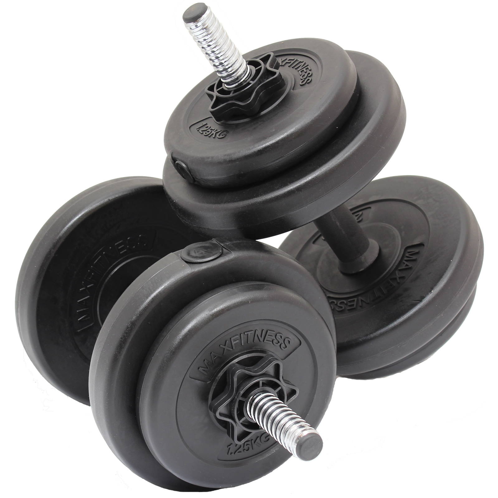 max fitness 15kg dumbbell free weights set home gym workout training