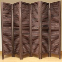 Brown 6 Panel Wooden Slat Room Divider Home Privacy Screen ...