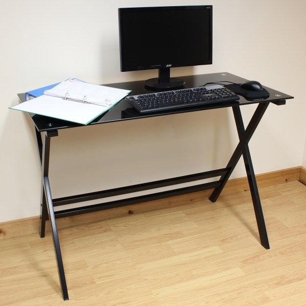 Hartleys Home Office Study 110cm Black Glass Top Computer