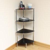 Hartleys 4 Tier Black Glass Corner Side/End Table Shelf ...