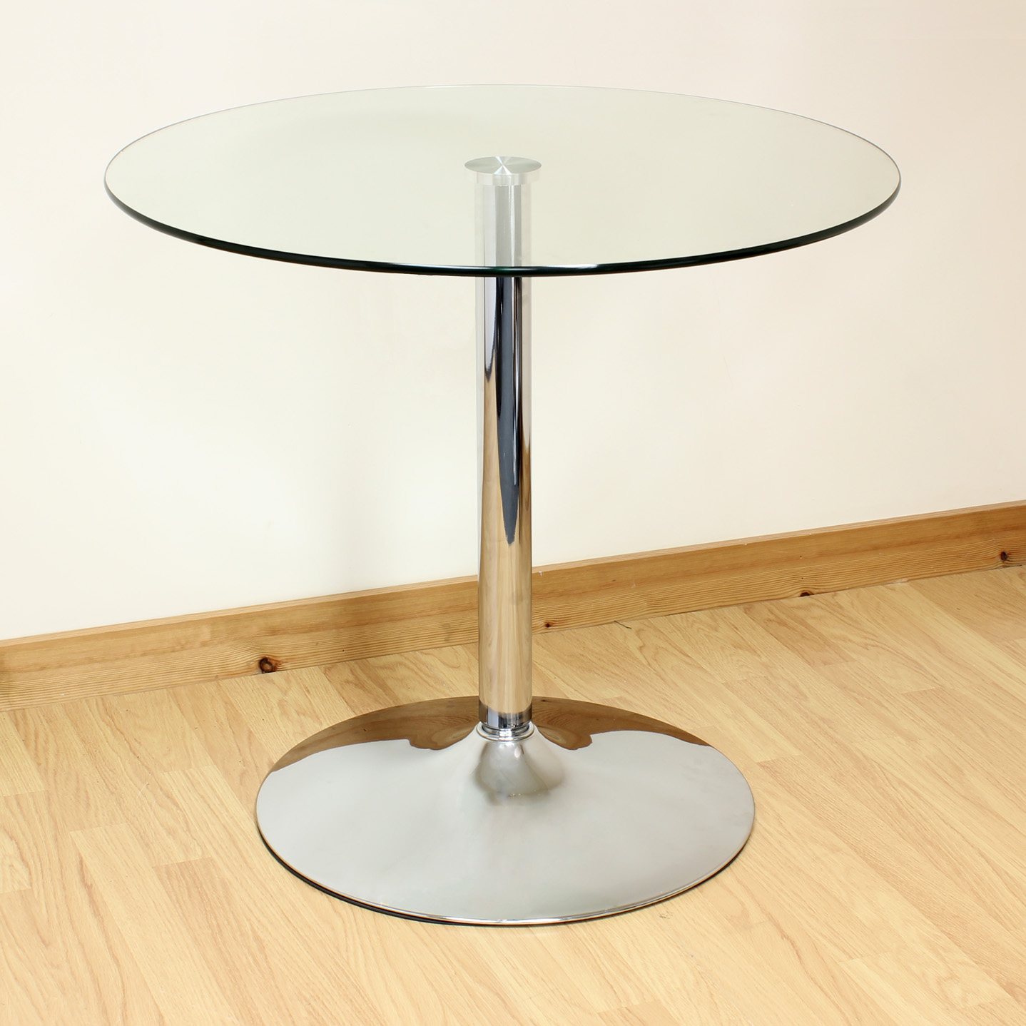 round glass kitchen tables small island with seating hartleys 80cm clear chrome dining