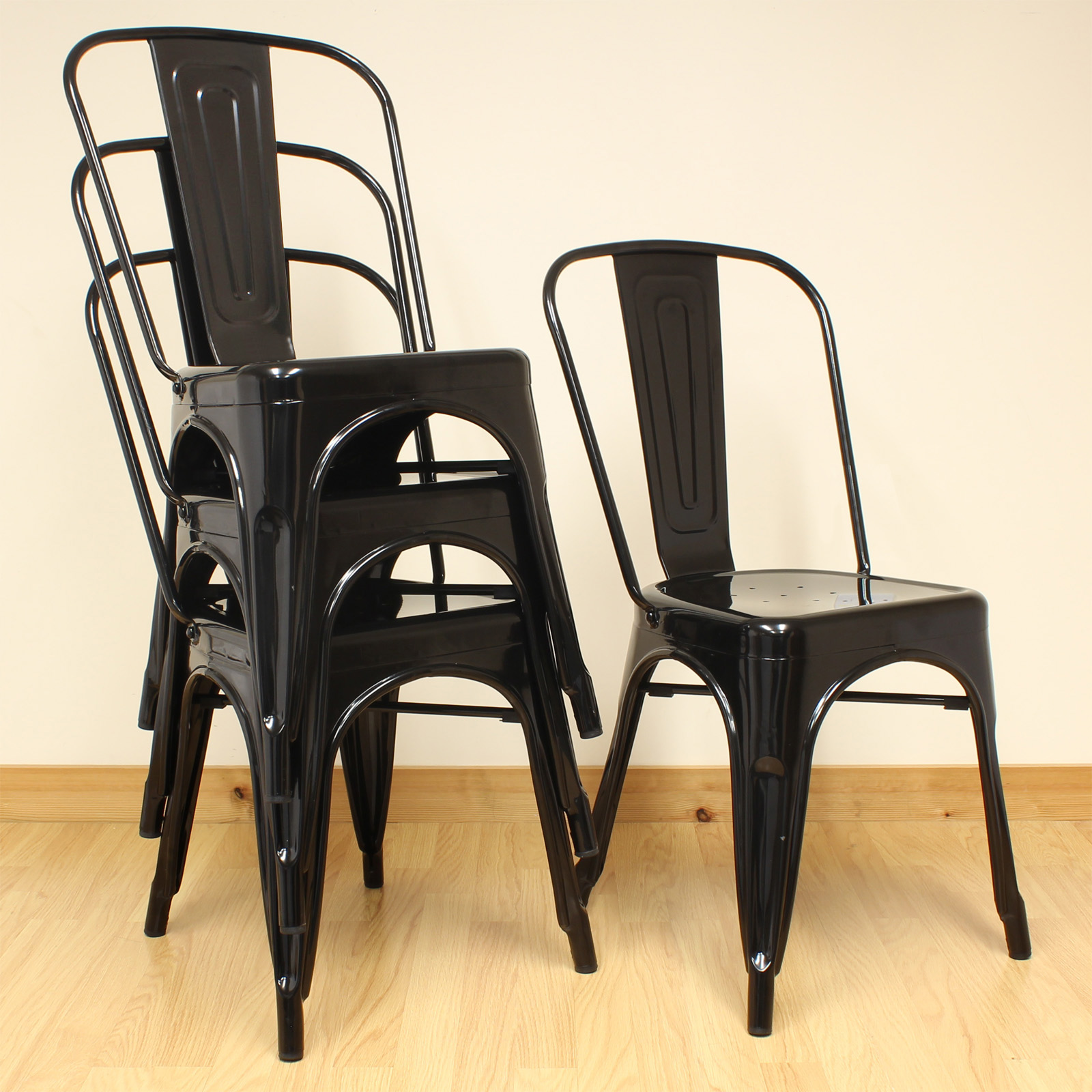 Black Metal Dining Chairs 4 Hartleys Black Metal Industrial Dining Chair Kitchen