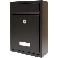 Hardcastle Lockable Black Wall Mounted Letter Mail Box ...