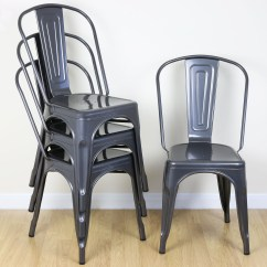 Aluminum Kitchen Chairs Bamboo Cabinets Set Of 4 Gunmetal Metal Industrial Dining Chair
