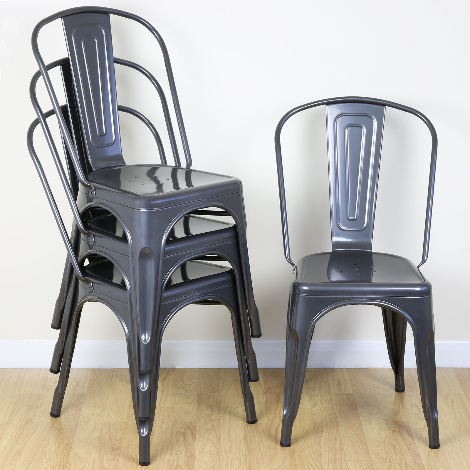 cafe chairs metal chair antique styles set of 4 gunmetal industrial dining kitchen