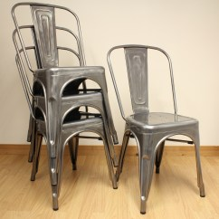 Industrial Bistro Chairs Fishing Chair Bed Reviews Set Of 4 Gunmetal Metal Dining Kitchen